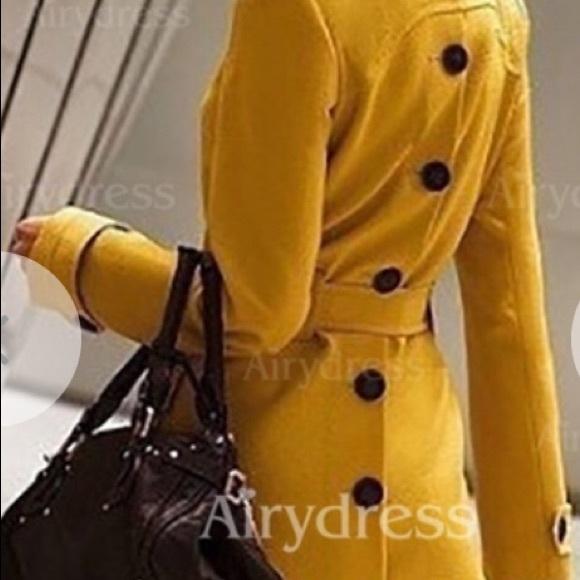 Jackets & Blazers - Yellow long sleeve trench coat, XL